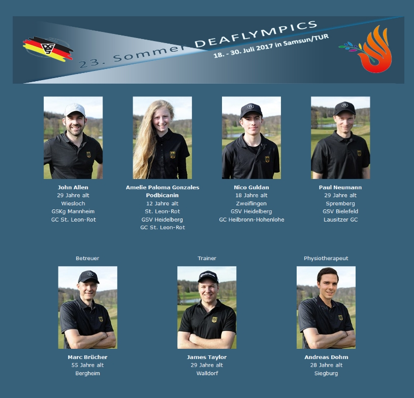 Das Golf-Team Germany der Deaflympics 2017 in Samsun/Türkei.